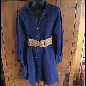 Hartford Dresses & Skirts - Hartford Blue Linen Buttoned Shirt Dress Size 2