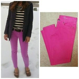 J. Crew Toothpick Hot Pink Ankle Jeans