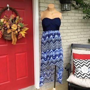 No Boundaries Dresses & Skirts - Blue strapless high low dress