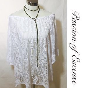 Emma Rose Tops - White Off The Shoulder Lace Tunic Top Plus Size