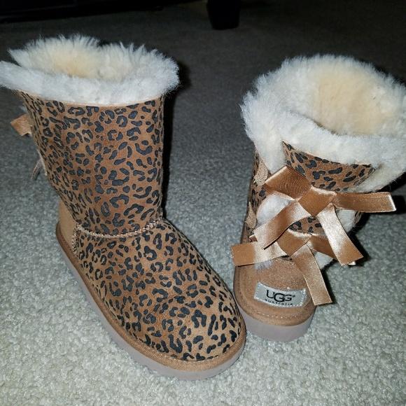 ugg shoes   authentic cheetah print bailey bow s   poshmark