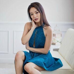 Glittery turquoise halter dress