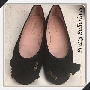 Pretty Ballerinas Shoes - Pretty Ballerinas Black Suede Gold Accent Size 40