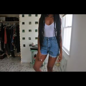 High Waist Studded Denim Shorts