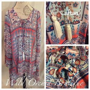 Tops - 🆑Clearance CORAL AND BLUES CAFTAN🌸2 LEFT🌸