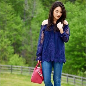 marled Tops - Super cute lace off the shoulder top