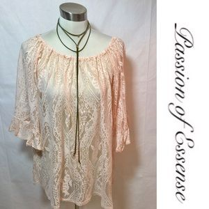 Emma Rose Tops - New Arrivals Peach Off The Shoulder Lace Tunic Top