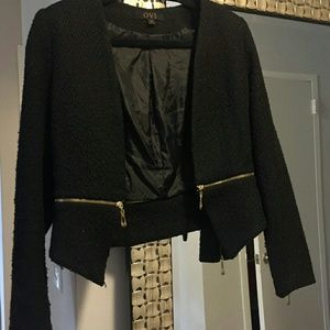 OVI Jackets & Blazers - Black Tweed blazer w/ gold zipper detail