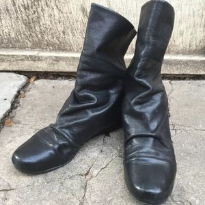 Rick Owens Shoes - Rick Owens black leather slouch wedge boots, 39