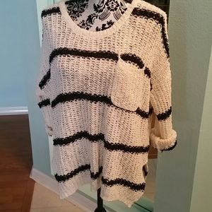 FREE PEOPLE IVORY SWEATER WITH NAVY STRIPES