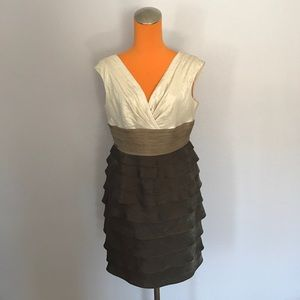 London Times Dresses & Skirts - London Times Petite Tiered Cream/Brown V Neck