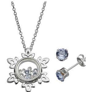 Disney Jewelry - Disney's Frozen Charm Pendant /Crystal Earring Set