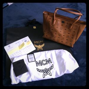 MCM Handbags - MCM Gold Visetos Shopper- practically brand new 🌟
