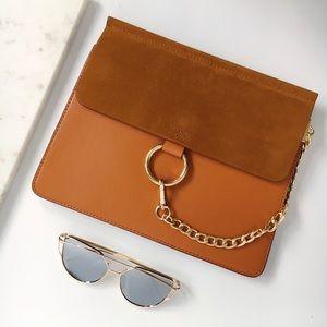 Handbags - Marmount Vegan Leather Brown O Ring Buckle Bag