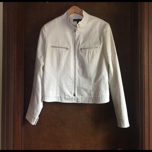 Lafayette 148 New York Jackets & Blazers - Lafayette 148 New York White Cotton Moto Jacket