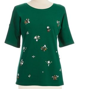 Lord & Taylor Tops - Lord & Taylor Hunter Green Jewel Top, size S