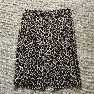 J. Crew leopard cheetah Pencil Skirt 00