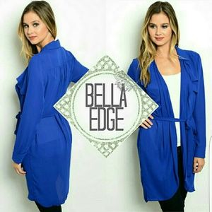 Bella Edge Sweaters - Royal blue sheer sash wrap long cardigan