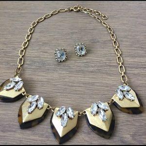 J. Crew Tortoise Gold Crystal Statement Necklace