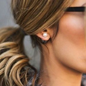 Ily Couture Jewelry - Dual Pearl + Hematite Stud Earrings