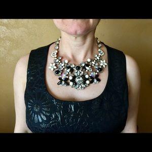 """Isabella"" Black White Crystal Statement Necklace"