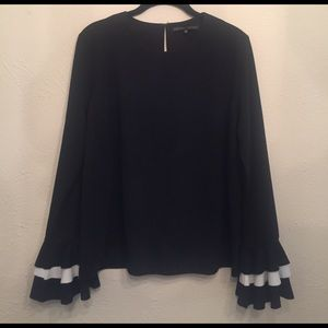 English Factory Sweaters - Black Ruffle Sleeve Sweater