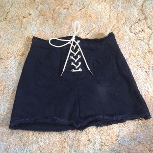 Black , A-line, Lace up skirt