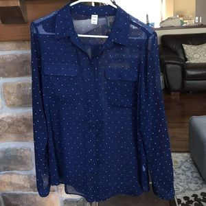 Old Navy Polka Dot button-up blouse Sz. M