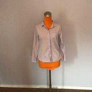 J. Crew Tops - J Crew Shrunken Dot Lilac Oxford Shirt