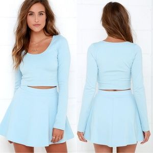lulus Dresses & Skirts - Lulus Light Blue Two-Piece Skater Dress Set