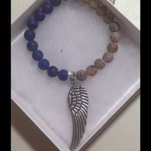 PeaceFrog Jewelry - Lapis Lazuli and Agate Angel Wing Bracelet