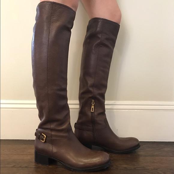 50b7aaf7b Prada Knee-High Brown Leather Boots. M_58d972642fd0b76f9d10b68d