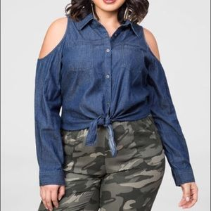 Ashley Stewart Tops - Ashley Stewart cold shoulder denim shirt