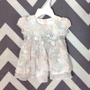 FAO Other - Pink & Grey Dress w/ Matching Hat - Newborn
