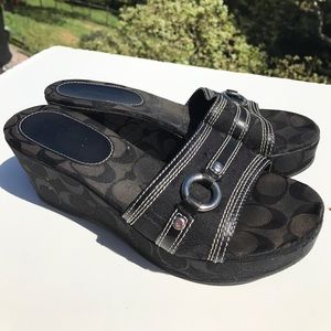 Coach Shoes - Coach Tyra Black Logo Signature Wedge Sandals 7