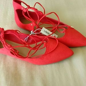 Red Lace Up Flats Size 7 NWT