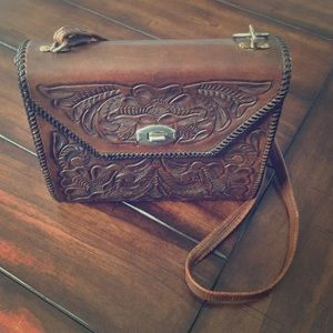 Mexican leather over the shoulder purse
