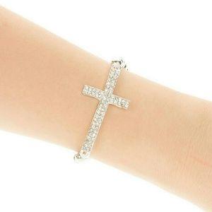 Jewelry - New silver crystal cross beaded bracelet