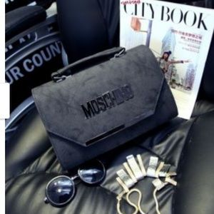 Moschino suede Gray purse clutch crossbody bag