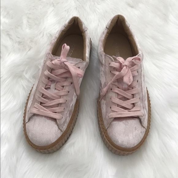 Public Desire pink velvet sneakers