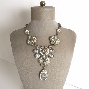 White and gold rhinestone statement necklace