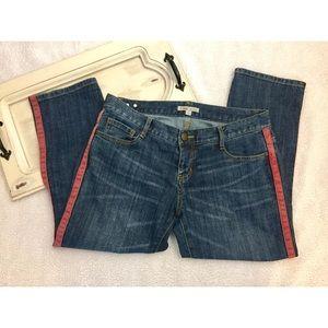 CAbi Jeans Denim Capri pants Red Tux Stripe 8 EUC