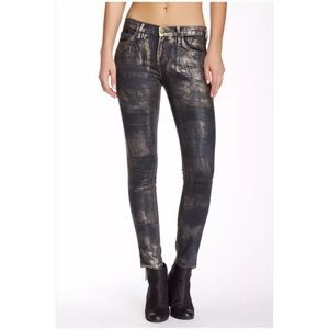 Current Elliott Ankle Skinny Cheville Coated Jeans