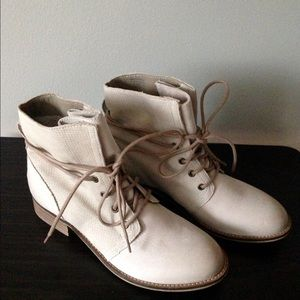 Shoemint Shoes - Beige Suede Wood Heeled Ankle Boots