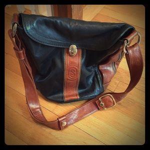 Marino Orlandi Handbags - Marino Orlandi Black and Brown Leather Bucket Bag