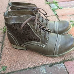 Wanted Shoes - Crochet faux leather lace up ankle boots