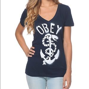 Obey Tops - Obey anchor V neck top