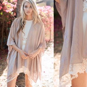 Other - NEW! Nude Lace Trimmed Embroidery Kimono