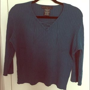 No Boundaries Tops - NWOT Teal Blue Tie Front Stretch Top XL