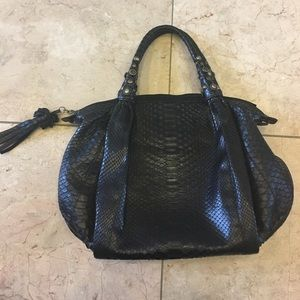 Handbags - %100 real snake skin black bag made in Italy 👍💋